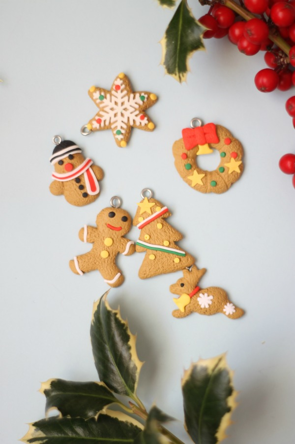 Set de 6 mini adornos navidad en fimo Tape Pink